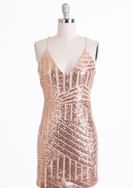 La Luna Gold Sequin Dress