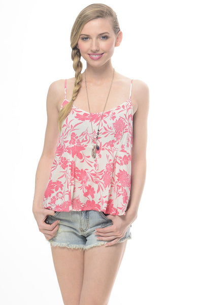 Floral Me Up Coral and White Tank Top