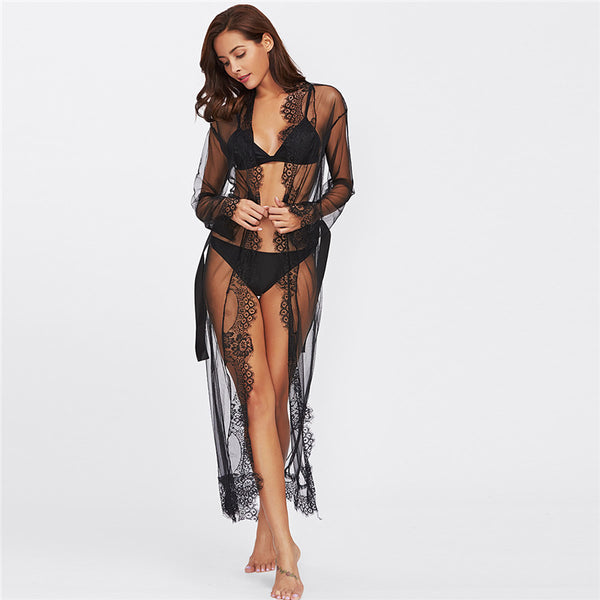 The Getaway Black Lace Beach Cover Up