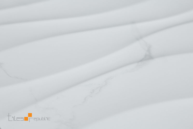 Carrara Marble Wave White Gloss 300x600