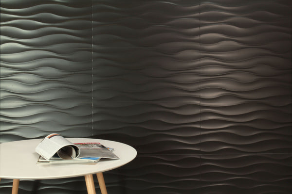 Bevelled Edge Tiles >> Urban Wave Black Matt 300x600 – Tiles Republic