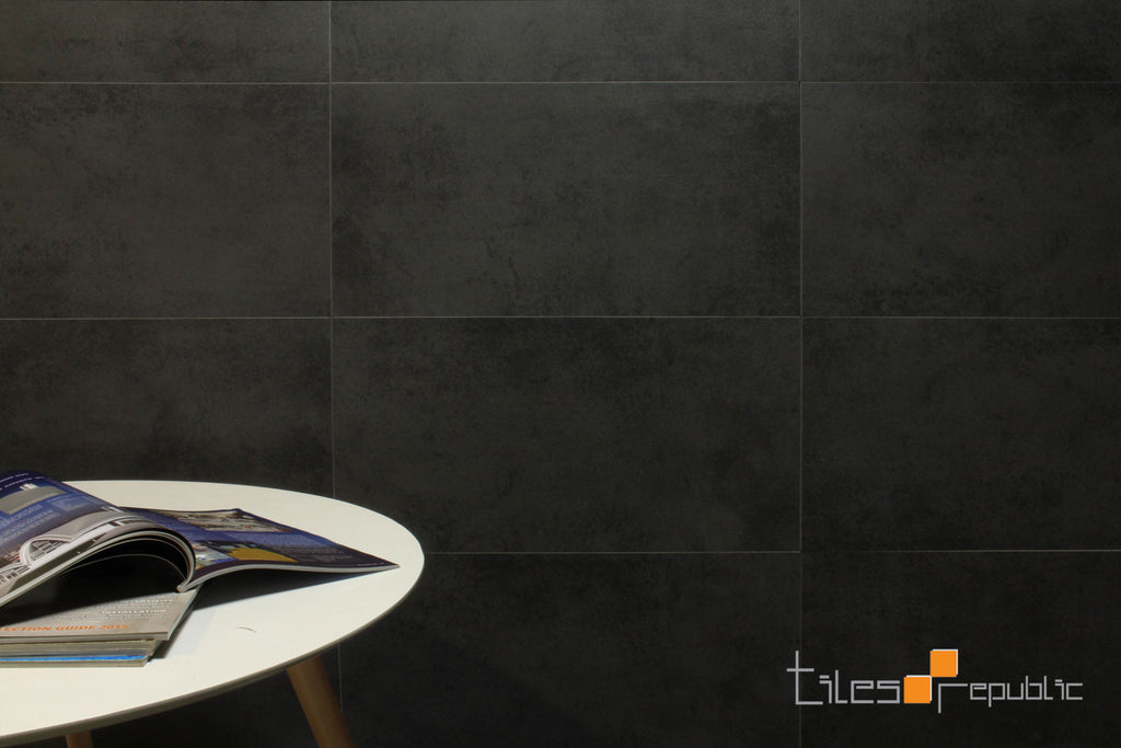 Mist Charcoal Concrete Look Tile Matt 300x600