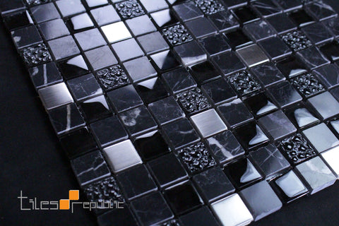 Black Marble Glass Mosaic 300x300