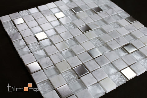 Carrara Marble Glass Mosaic 300x300