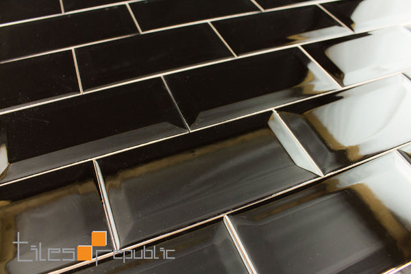Bevelled Edge Black Gloss 75x150 Subway Wall Tiles Republic