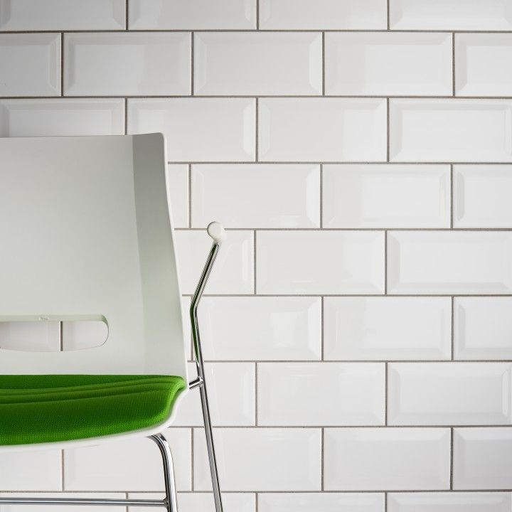 Bevelled Edge White Gloss 100x200 Subway Wall Tiles Republic