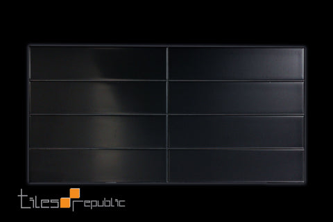 Black Matt 75x300 Subway Wall
