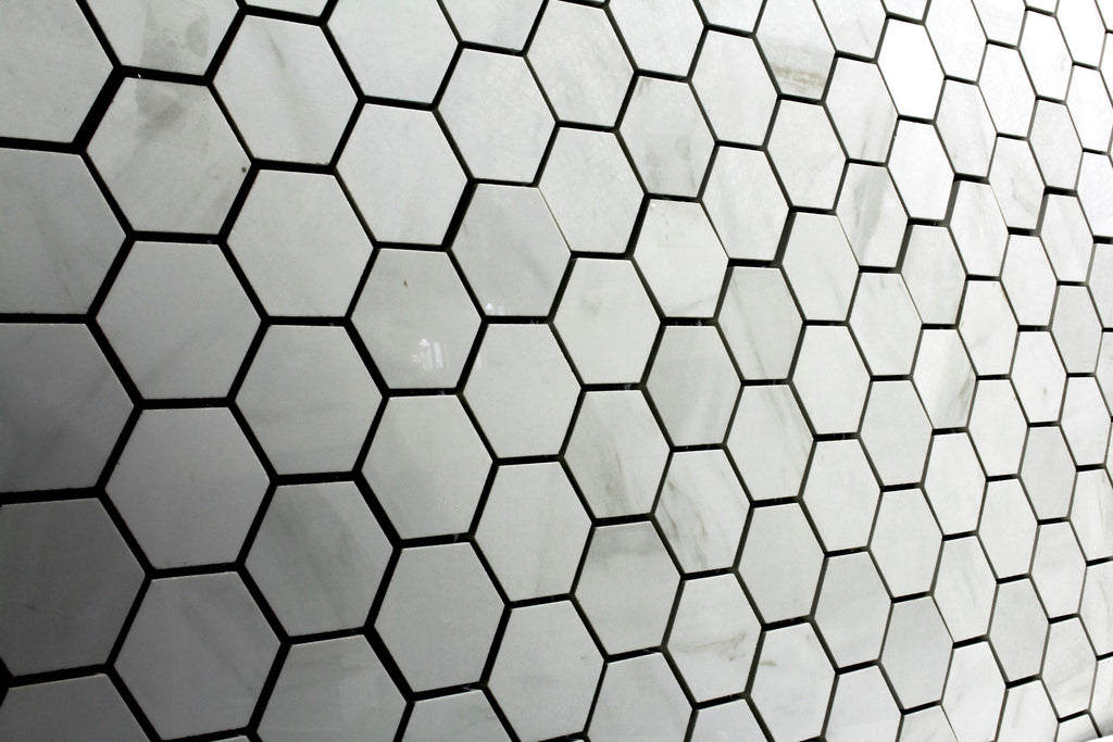Carrara Marble White Gloss Hexagon Mosaic 310x324
