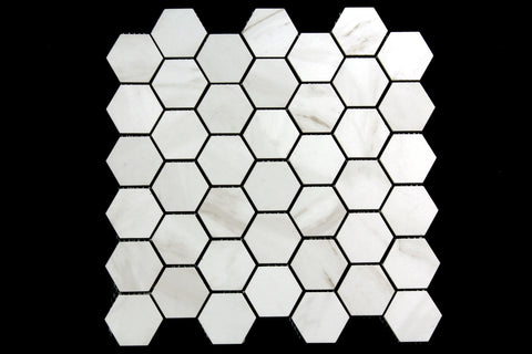 Carrara Marble White Matt Hexagon Mosaic 310x324