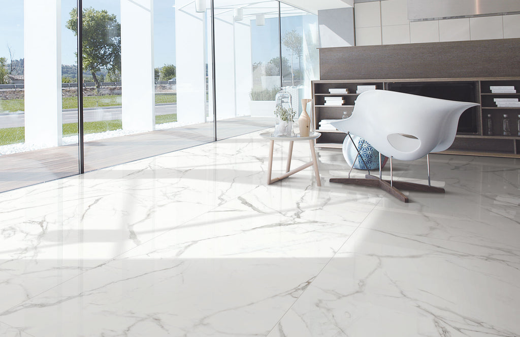 Carrara Marble White Gloss 900x1800 Thin Panel Tiles Republic