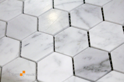 Carrara Marble Hexagon Honed Mosaic 298x310