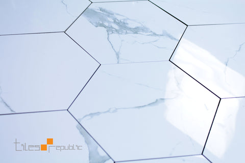 Calacatta Marble White Gloss Hexagon 256x296