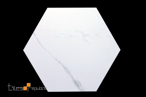 Calacatta Marble White Matt Hexagon 256x296