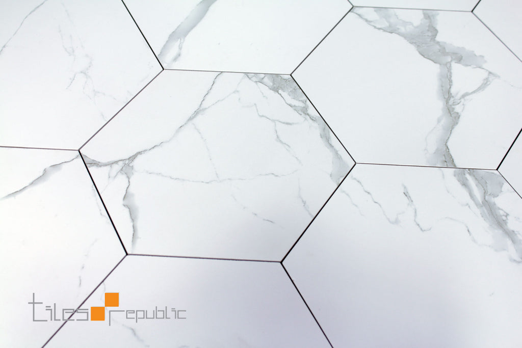 Calacatta Marble White Matt Hexagon 256x296 Tiles Republic