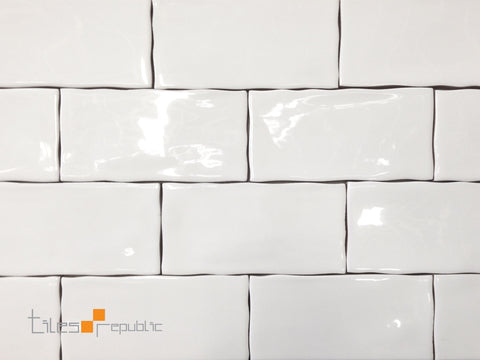 handmade look subway tile mano white gloss handmade look 75x150 subway wall tiles 8553