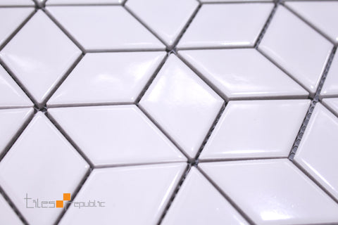 Rhomboid Diamond White Gloss Mosaic 266x305