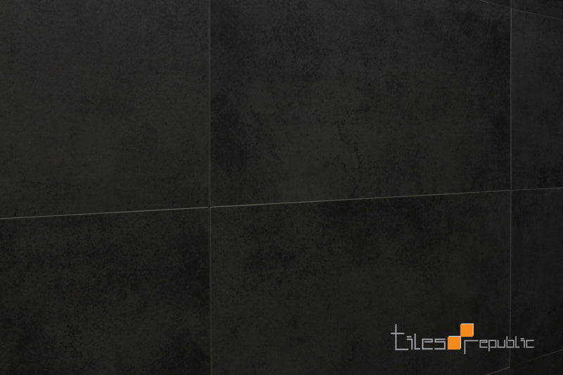 Mist Charcoal Concrete Look Tile Lappato 600x600