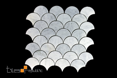 Carrara Marble Fish Scale Honed Mosaic 310x305