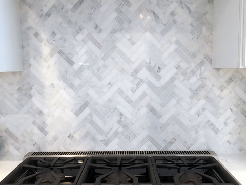 Carrara Marble Herringbone Honed Mosaic 280x320