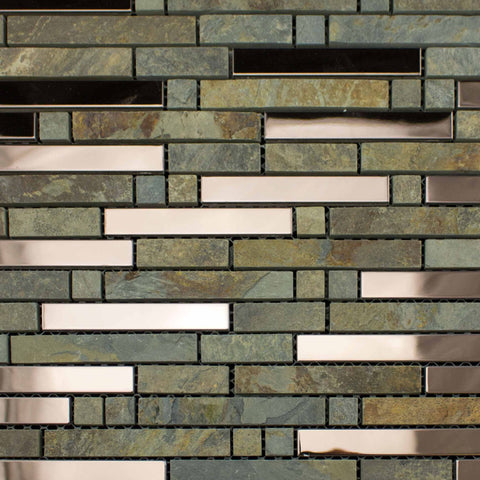 Slate Metal Brown Mosaic 300x300