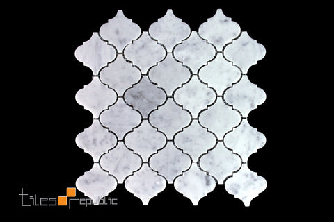 Carrara Marble Lantern Honed Mosaic 320x310