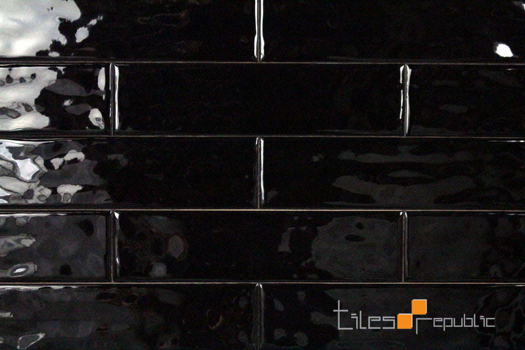 Mano Black Gloss Handmade-Look 75x300 Subway Wall