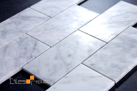 Carrara Marble Subway Honed Mosaic 302x306