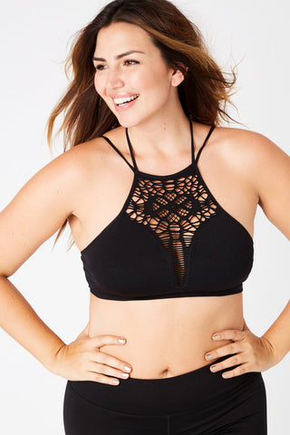 Eyelet Bra in Black S-3XL