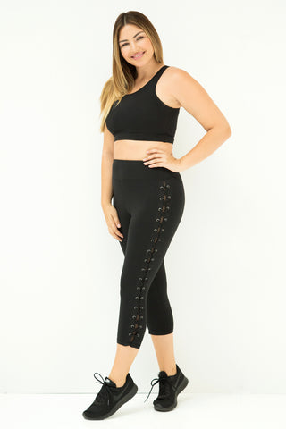 Lace Up Mesh Athletic Leggings