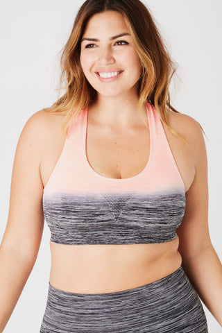 Grey and Pink Ombre Sports Bra S-L
