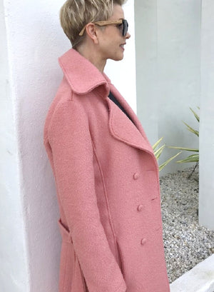 Wool Full-Length Jacket / DUSTY PINK with SPOTTED LINING