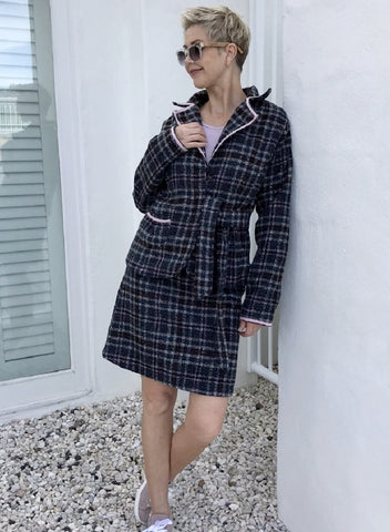 Wool Skirt / CHARCOAL CHECK with MUSK LINING