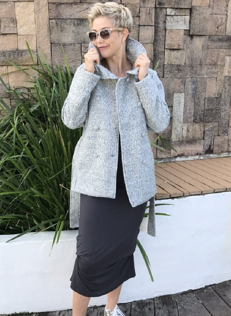 Wool Cropped Jacket / MARBLE GREY with PLUSH SILVER LINING