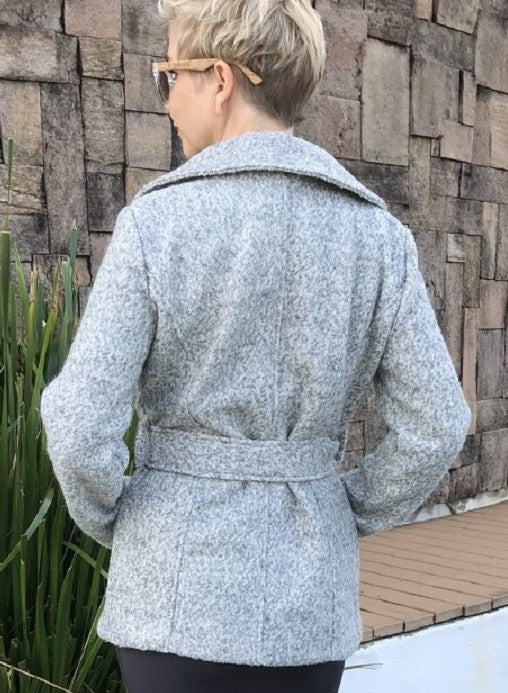 Wool Crop Jacket / MARBLE GREY with PLUSH SILVER LINING