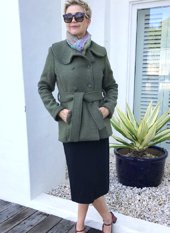 Wool Crop Jacket / OLIVE with FLORAL LINING