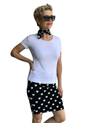 Bamboo Hand Screen-Printed Skirt / BLACK & WHITE HEARTS
