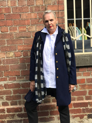 Wool Full Length Coat / NAVY with NAVY SILK LINING with contrast GOLD BUTTONS