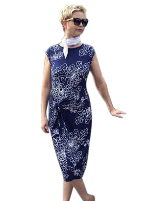 Bamboo Dress with Front Tie / NAVY & WHITE NEW FLORAL