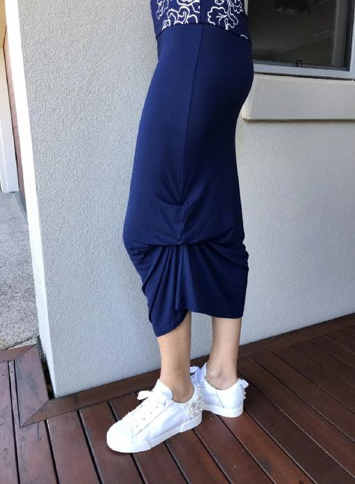 Bamboo Skirt with Inside Ties / NAVY