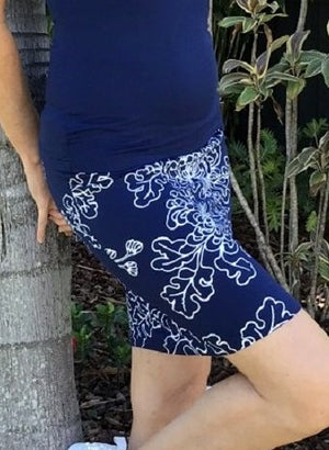 Bamboo Hand Screen-Printed Skirt / NAVY & WHITE NEW FLORAL