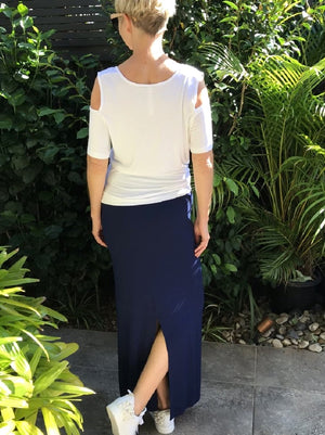 Long Bamboo Skirt with Back Split / NAVY