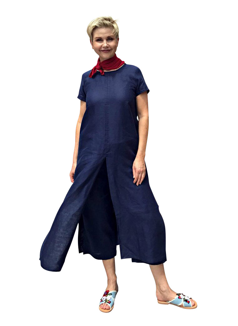 Linen Dress with Split / NAVY