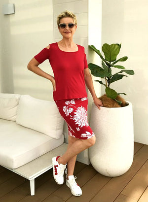 Bamboo Hand Screen-Printed Skirt / Red & WHITE MOON FLOWER