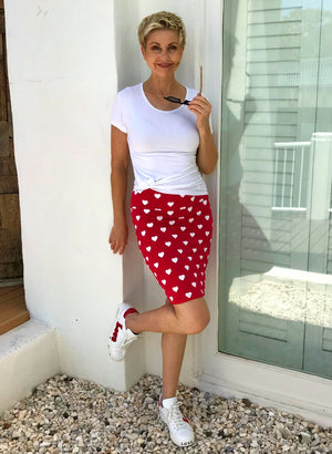 Bamboo Hand Screen-Printed Skirt / RED & WHITE HEARTS