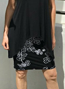 Bamboo Hand Screen-Printed Skirt / BLACK & WHITE NEW FLORAL