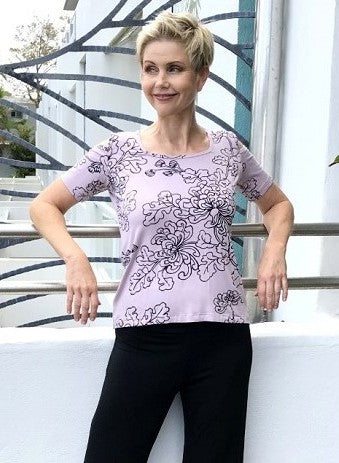 Bamboo Hand Screen-Printed Cut-Out Tee SS / MUSK & BLACK NEW FLORAL