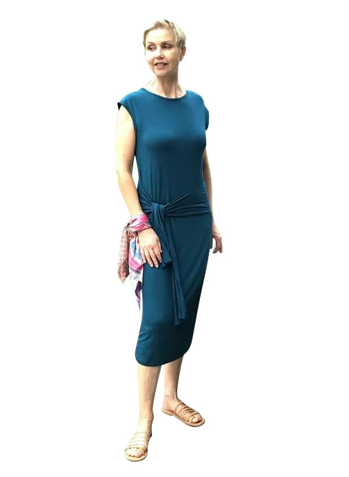 Bamboo Dress with Front Tie / PETROL