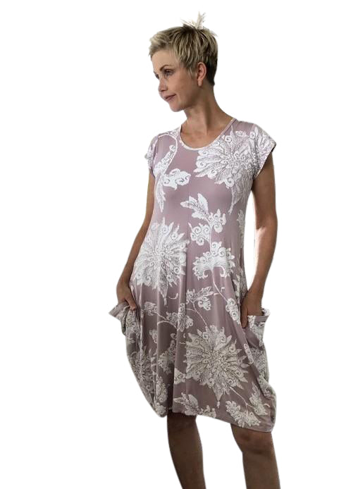 Bamboo Dress with Inside Ties / MUSK & WHITE MOONFLOWER