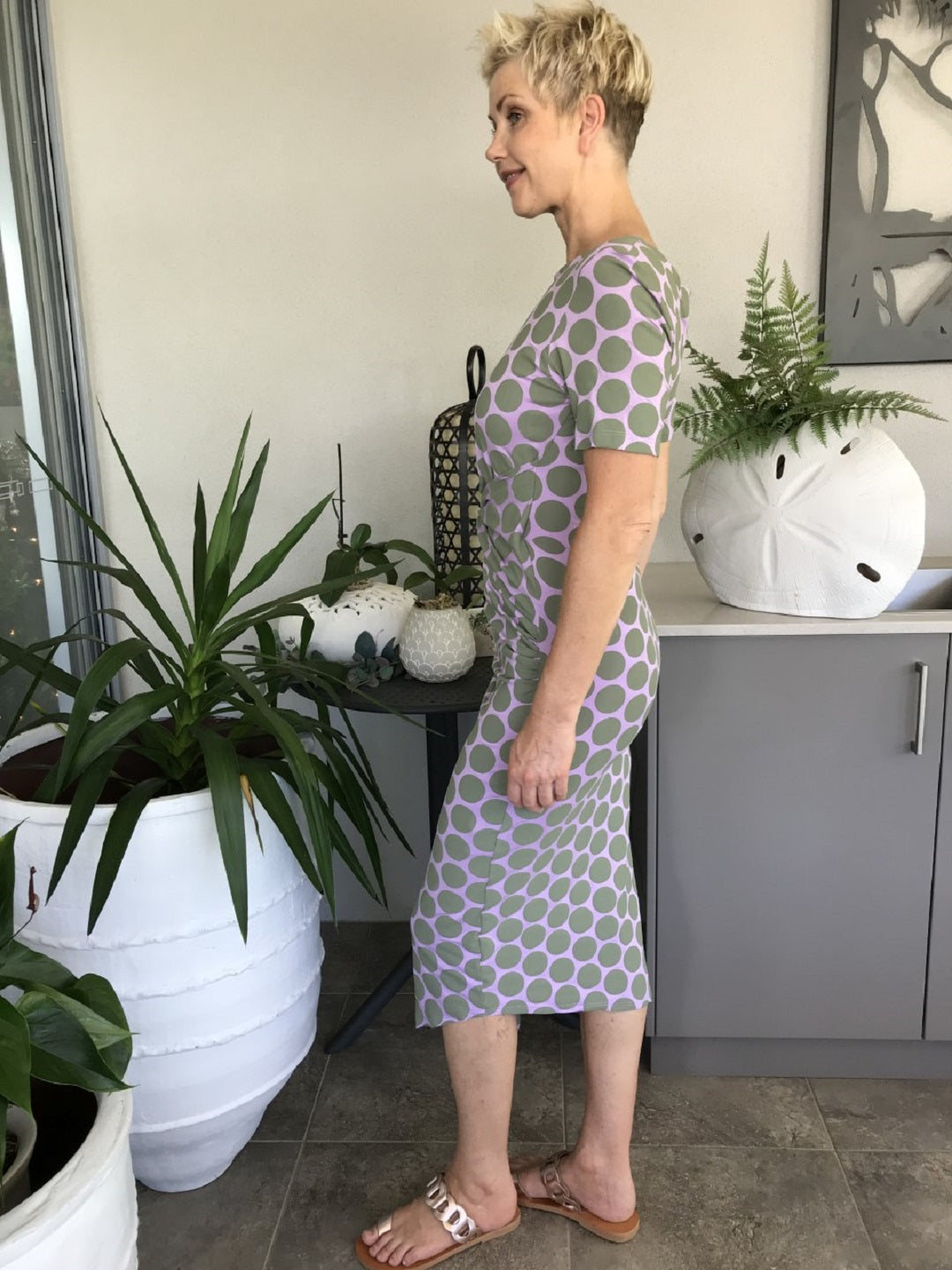 Bamboo Front Knot Dress / MUSK WITH SAGE SPOTS