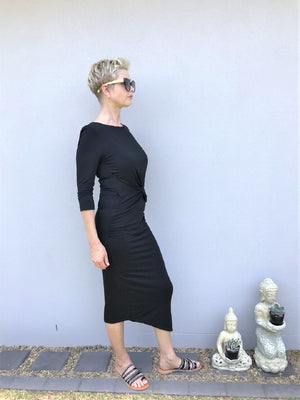 Bamboo Front Knot Dress / BLACK
